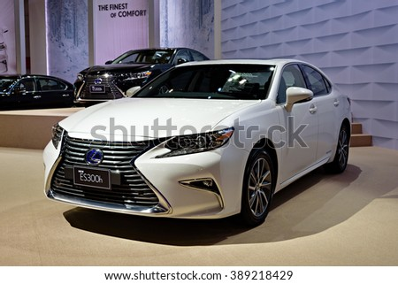 BANGKOK, THAILAND - AUGUST 6: The Lexus New ES300h is on display at the Bangkok International Grand Motor Sale 2015 at Bitec on August 6, 2015 in Bangkok, Thailand.