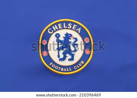 BANGKOK, THAILAND - AUGUST 05, 2014: the logo of chelsea football club on the jersey  on 5 August 2014 in Bangkok Thailand. chelsea  ready for the new season ,looking forward to get the trophy again - stock photo