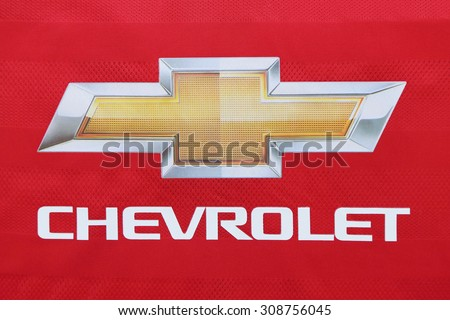 BANGKOK, THAILAND - AUGUST 21, 2015: the logo of Chevrolet on Manchester United football jersey on  August  21,2015 in Bangkok Thailand. - stock photo