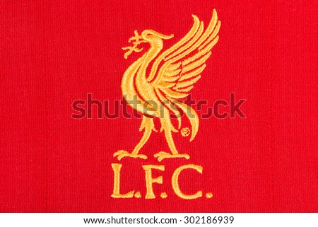 BANGKOK, THAILAND - AUGUST 01, 2015: the logo of liverpool football club on an official jersey on 1 August 2015 in Bangkok Thailand.