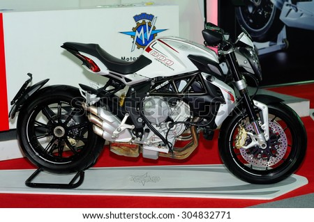 BANGKOK, THAILAND - August 07: The MV Agusta Brutale 800 Dragster  Motorbike is on display at Bangkok International Grand Motor Sale 2015 on August 07, 2015 in Bangkok, Thailand.