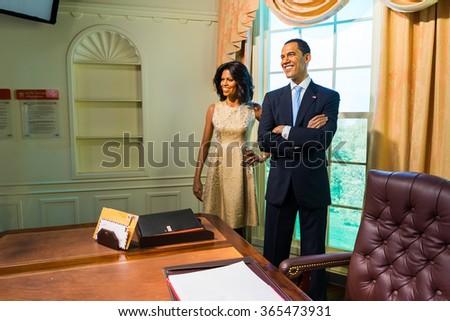 BANGKOK, THAILAND - CIRCA August, 2015: Wax figure of President Barack Obama from Madame Tussauds, Siam Discovery, Bangkok - stock photo