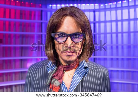 BANGKOK, THAILAND - CIRCA August, 2015: Wax figure of the famous Johnny Depp from Madame Tussauds, Siam Discovery, Bangkok - stock photo