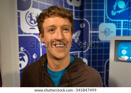 BANGKOK, THAILAND - CIRCA August, 2015: Wax figure of the famous Mark Zuckerberg from Madame Tussauds, Siam Discovery, Bangkok - stock photo