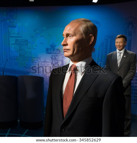 BANGKOK, THAILAND - CIRCA August, 2015: Wax figure of the famous Vladimia Putin from Madame Tussauds, Siam Discovery, Bangkok - stock photo