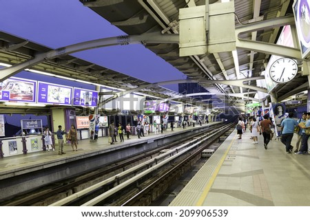 BANGKOK, THAILAND - CIRCA MAY 2014: Sky Train Station. The Bangkok Mass Transit System, commonly known as the BTS or the Skytrain, is a futuristic elevated rapid transit system. - stock photo