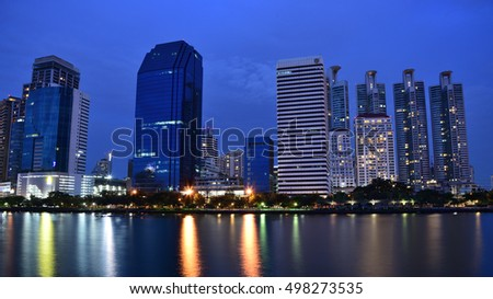 Bangkok thailand city viewpoint in the park center asoke street twilight time