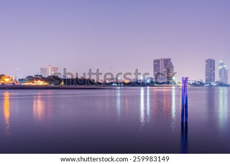 bangkok thailand cityscape with urban buildings at night - stock photo