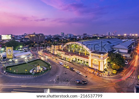 BANGKOK, THAILAND- DEC 12: Bangkok central train station (Hua Lamphong Railway Station) on December 12, 2013 in Bangkok. This is the main railway station in Bangkok, located in the center of Bangkok. - stock photo
