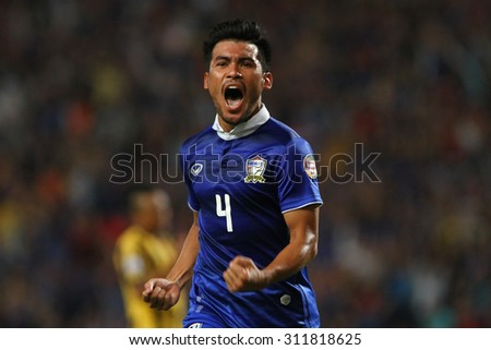 BANGKOK THAILAND DEC17:Kroekrit Thaweekarn of Thailand celebrates during the AFF Suzuki Cup 2014 Match between Thailand and Malaysia at Rajamangala Stadium on December 17,2014 in Thailand.