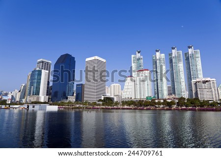 Bangkok, Thailand - Dec 31, 2014 : Skyscraper and Cityscape in Bangkok; many modern condominiums and business building on the Sukhumvit road which show economic gradually growth in Thailand.
