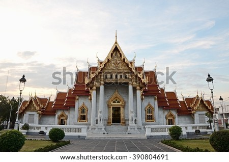Bangkok,THAILAND - DEC 27: 2014. Sundown Time Wat Benchamabophit Dusitvanaram (The Marble Temple) is a Buddhist temple in the Dusit district of Bangkok, on DEC 27, 2014 in Bangkok, Thailand. - stock photo