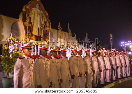 BANGKOK, THAILAND - DEC 5, 2014: Unidentified participants in the celebration of the 87th birthday of Thailand King Bhumibol Adulyadej, is also known as Rama IX, ninth monarch of the Chakri Dynasty. - stock photo