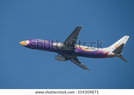 BANGKOK, THAILAND - DECEMBER 20, 2015: A Boeing 737-88L registration number HS-DBU of NOK Air flight DD7210 flying from Don Mueang International Airport (DMK) to Surat Thani Airport (URT)