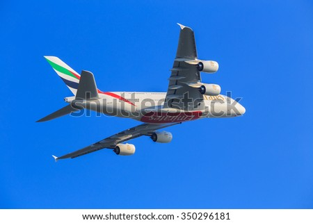 BANGKOK, THAILAND - DECEMBER 12: Airbus A380-800 Emirates take off from Suvarnabhumi Airport  on December 12, 2015. Emirates is an airline based in Dubai.