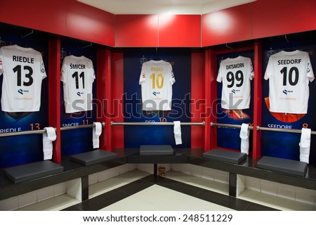 BANGKOK,THAILAND-DECEMBER 05:Athletic dressing rooms team of Team Figo during the Global Legends Series match, at the SCG Stadium on December 5, 2014 in Bangkok, Thailand. - stock photo