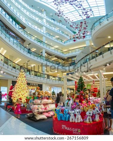 Bangkok, Thailand - 14 december 2014. Central World mall building interior with christmas decorations in Bangkok, Thailand - stock photo