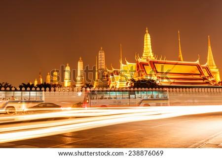 Bangkok, Thailand - December 15, 2014: Grand Palace Complex and Wat Phra Kaew, one of Bangkok's tourist attractions, Bangkok, Thailand - stock photo