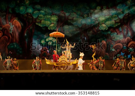 BANGKOK ,THAILAND - 12 DECEMBER 2015 : Khon is traditional dance drama art of Thai classical masked, this performance is Ramayana epic, the show is open Bike For Dad  in Bangkok, Middle of Thailand.