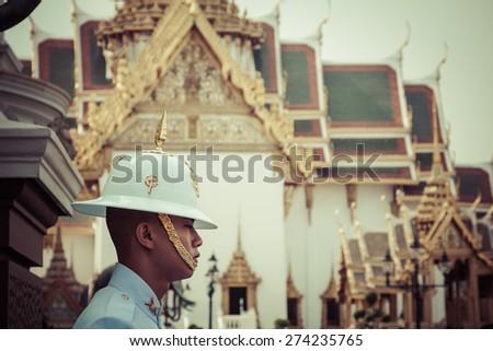 Bangkok,Thailand,December 13,2013:Kings Guard in Grand Royal Palace - stock photo