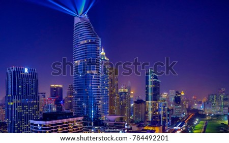 BANGKOK, Thailand December 28, 2017: Light show 3 D of new building in Bangkok, Thailand