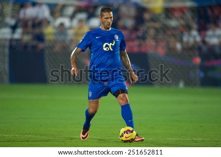 BANGKOK, THAILAND - DECEMBER 05:Marco Materazzi of Team Cannavaro in action during the Global Legends Series match, at the SCG Stadium on December 5, 2014 in Bangkok, Thailand. - stock photo