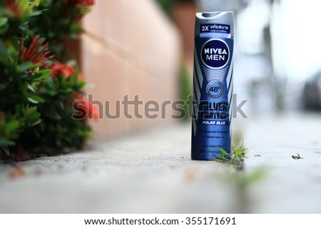 BANGKOK, THAILAND - December 22, 2015 :: Photo of Nivea men deodorant on a white background. Nivea is a  spray skin and body care brand that is owned by the German company Beiersdorf.