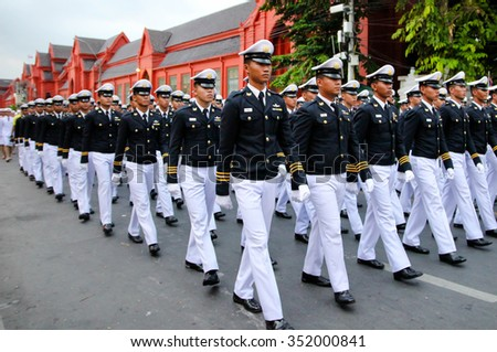 BANGKOK, THAILAND - DECEMBER 5: Pre-cadet of Armed Forces Academies Preparatory School in father's day celebration parade on December 5, 2015 in Sanam Luang, Bangkok, Thailand - stock photo
