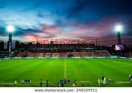BANGKOK, THAILAND - DECEMBER 05: Red sky views of SCG Stadium during the Global Legends Series match, at the SCG Stadium on December 5, 2014 in Bangkok, Thailand. - stock photo