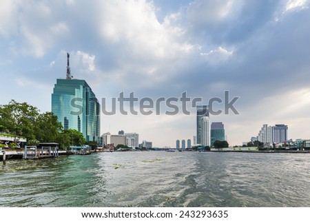 BANGKOK, THAILAND - DECEMBER 12: river Chao Phrayain Bangkok. The river is one of the largest and most important rivers with a length of 372 meters. - stock photo