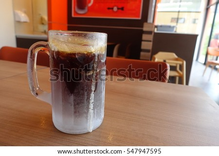 BANGKOK, THAILAND - DECEMBER 31, 2016 : Root beer soft drink in large mug at A & W fast food restaurant, Bangkok Thailand