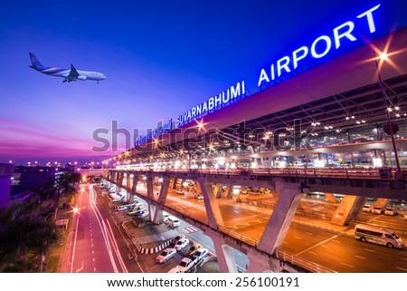 Bangkok,Thailand - December 02,2013 : Suvarnabhumi Airport at early morning in Bangkok ,Thailand. This airport is the world's third largest single building airport terminal designed by Helmut Jahn. - stock photo