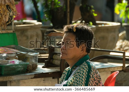 Bangkok, Thailand - December 7, 2015 : Thai exotic food in street food market. Like the charming people, exotic foods greets you on almost every corner in Thailand.