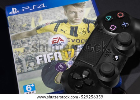 BANGKOK, THAILAND - DECEMBER 5, 2016: The New Fifa 2017 game on PS4 Console on December 5,2016. in Bangkok Thailand.