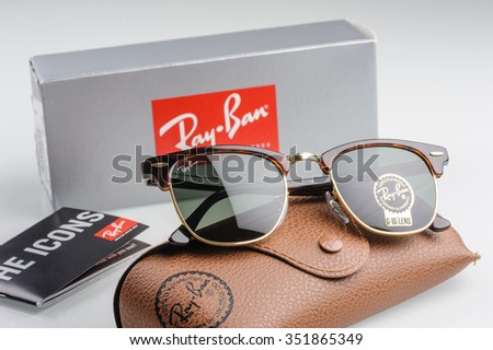 BANGKOK, THAILAND - DECEMBER 16, 2015: The Ray-Ban Club Master RB3016 W0366 -Tortoise. Ray-Ban is a brand of sunglasses and eyeglasses founded in 1937 by American company Bausch & Lomb. - stock photo