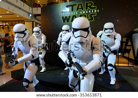 Bangkok, Thailand - 19 December, 2015: The Stormtrooper Models at Star Wars The Force Awakens Thailand Premiere Exhibition at Central World Shopping Center. - stock photo