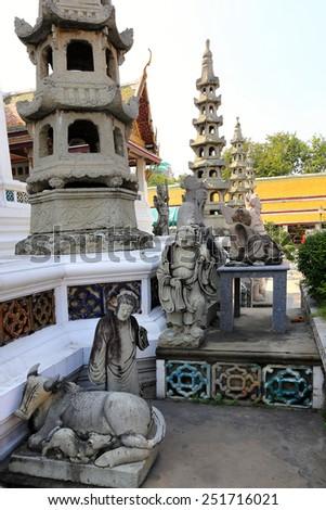 BANGKOK, THAILAND - December 15, 2014: tour of Wat Suthat Thepwararam Bangkok, Thailand - stock photo