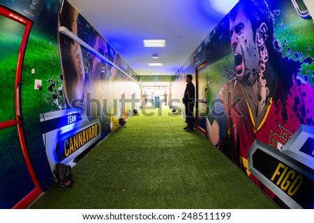BANGKOK,THAILAND-DECEMBER 05: Tunnel to the field of SCG Stadium before the Global Legends Series match, at the SCG Stadium on December 5, 2014 in Bangkok, Thailand. - stock photo
