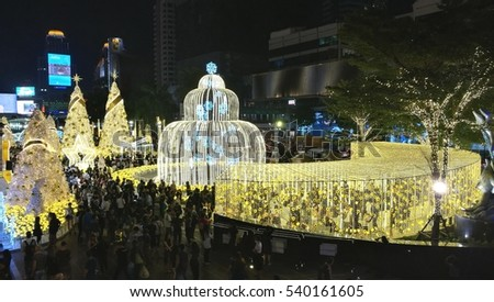 BANGKOK, THAILAND - 20 DECEMBER 2016 : Vibrant lights colors of the cerebration in Christmas season