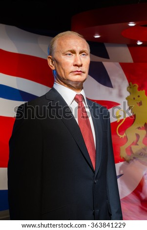 BANGKOK, THAILAND - DECEMBER 19: Wax figure of the famous Vladimir Putin from Madame Tussauds on December 19, 2015 in Bangkok, Thailand - stock photo