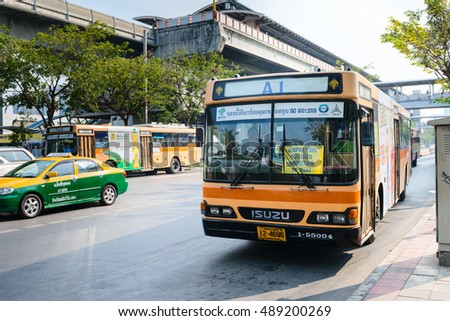 BANGKOK, THAILAND - 9 FEB 2016: Public bus from a Bangkok MRT station to Don Mueang International Airport.