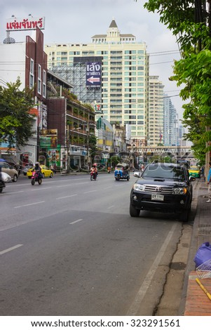 BANGKOK, THAILAND - FEB 20, 2015: Street on the outskirts of Bangkok. The streets on the outskirts of this metropolis is loaded less than in the center - stock photo