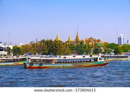 BANGKOK, THAILAND - FEB 5: Tourists boats on Chao Phraya river, Feb 05, 2016, Bangkok, Thailand. Bangkok famous transportation.