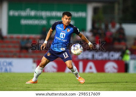 BANGKOK THAILAND- FEB 21:Yai Nilwong of Ratchaburi F.C. in action during Thai Premier League between Bangkok UTD F.C. and Ratchaburi F.C. at Thai-Japanese Stadium on Feb21,2015 in Bangkok Thailand - stock photo