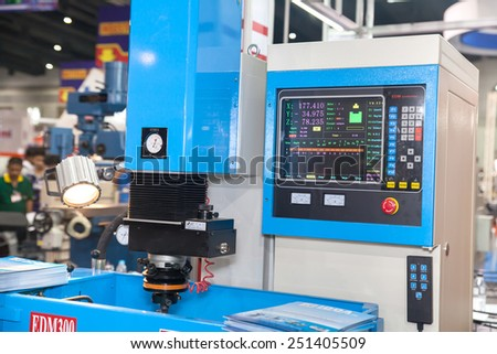 BANGKOK ,THAILAND - FEBRUARY 7: Drill Electronic control panel At THAILAND  Industrial Fair 2015 And Food Pack Asia 2015 on February 7, 2015 in  Bangkok, Thailand. - stock photo