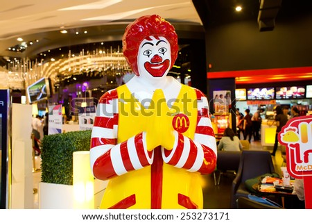 BANGKOK, THAILAND - FEBRUARY 9 : Mascot of a McDonald's Restaurant on February 9, 2015 in Bangkok, Thailand. It is the world's largest chain of hamburger fast food restaurants. - stock photo