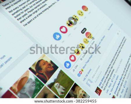 Bangkok, Thailand - FEBRUARY 26, 2016 - New Facebook like button options with 6 Empathetic Emoji. Facebook on website. Selective focus on Angry button. - stock photo
