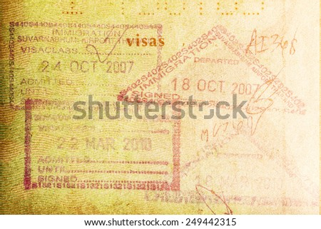 BANGKOK, THAILAND - FEBRUARY 02, 2015: Picture of immigration stamp in Passport. - stock photo