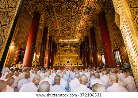 Bangkok, Thailand - February 3rd: People are waiting in the Buddhist church for the ordination ceremony on February 3rd, 2016 in Debsirin royal temple, Bangkok, Thailand. - stock photo