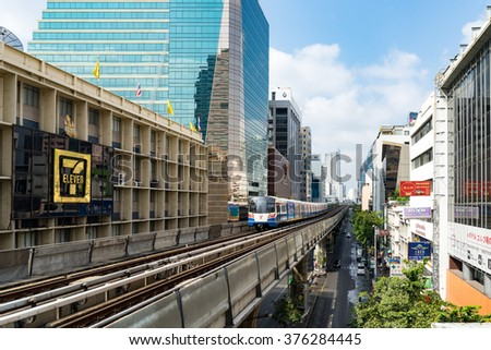 Bangkok, Thailand - February 13, 2016: The Bangkok Mass Transit System (BTS) is an elevated rapid transit system in Bangkok. This is the best way to travel in Bangkok.